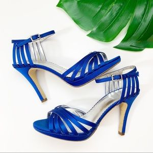 Blue Strap Heels Pumps Ankle Stiletto Satin Weddin